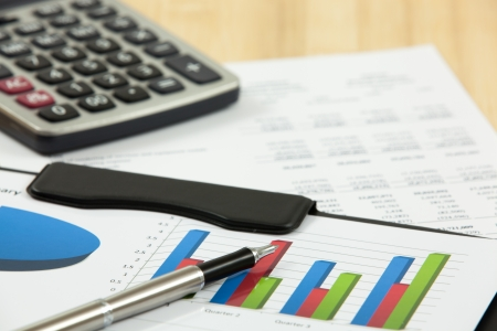 financial figure: Financial graphs and charts with calculator