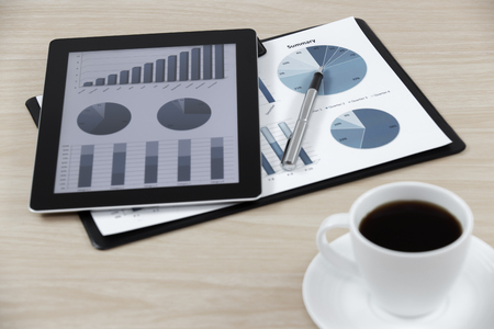 business workplace with stock market data photo