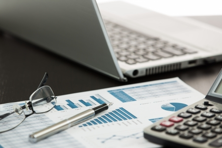 Businessman analyzing investment charts with laptop Stock Photo - 25107040