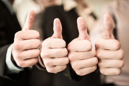 business like: Group of hands with thumbs up expressing positivity.Asian