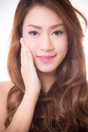 asian model: beautiful woman with perfect skin and face