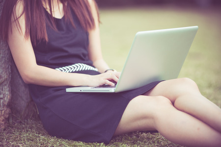 25 30 years: Beautiful young woman using laptop in park