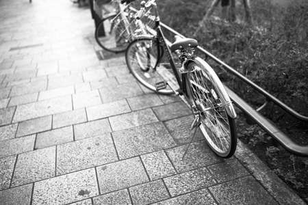 Portrait of os bicycle in the town