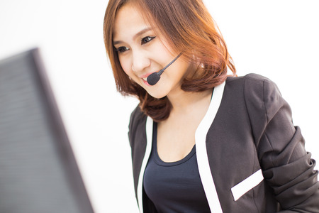 Asian women call center with phone headset photo