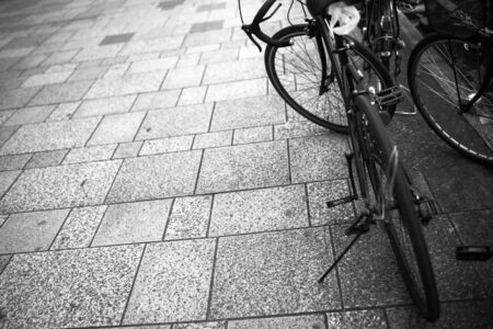 Portrait of os bicycle in the town Stock Photo