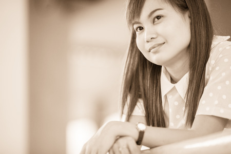 chinese woman: A shot of a beautiful asian woman outdoor Stock Photo