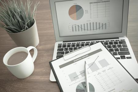 Zeige Geschäfts- und Finanzbericht. Buchhaltung Standard-Bild