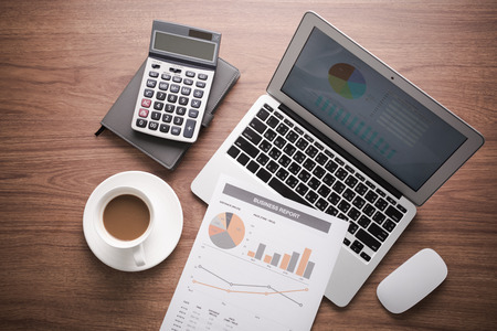 financial figure: Showing business and financial report. Accounting