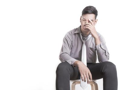 depresión: Hombre de negocios joven aislado depresivo Foto de archivo