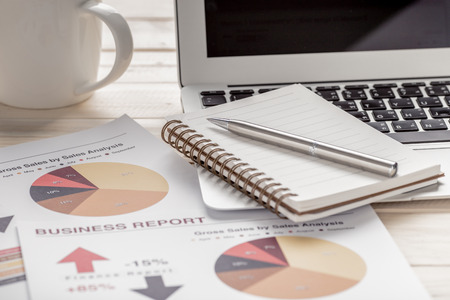report: Showing business and financial report. Accounting