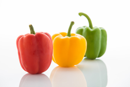 bell peppers: set of colored bell peppers Stock Photo