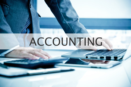 Man Analysis Business.  Accounting Label