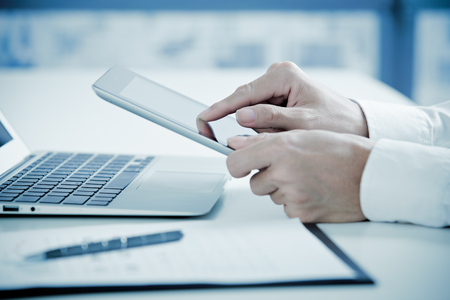 report: business report and man hand. Accounting Stock Photo