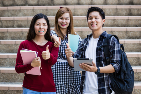 high school student: Friends and education, group of university students studying