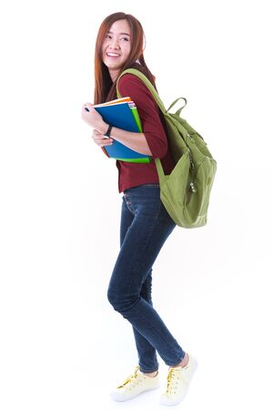 school teens: Young asian student girl with book. Isolated on white background.