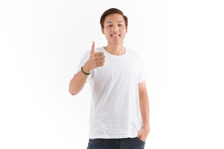 casual men: Young man isolated on white. Asian male model Stock Photo