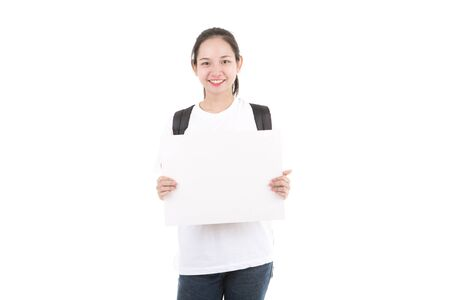 Young Asian showing blank empty billboard poster sign. Isolated on white background.