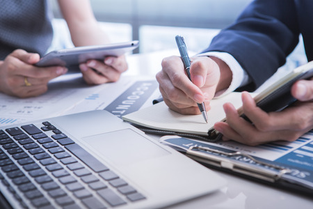 Business Team Discussion Data Marketing Statistics Concept Banque d'images