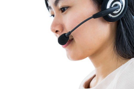 Portrait of happy smiling cheerful support phone operator in headset, isolated on white background