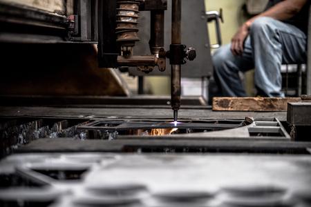 Plasma cutting metalwork industry machine in factory Stock Photo