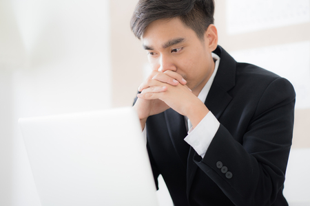 Businessman working laptop in office. Asian people Stock Photo