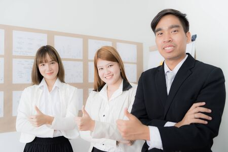 Portrait of businesspeople standing in office. Asian people Banque d'images