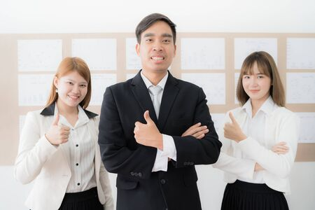 Portrait of businesspeople standing in office. Asian people Stock Photo