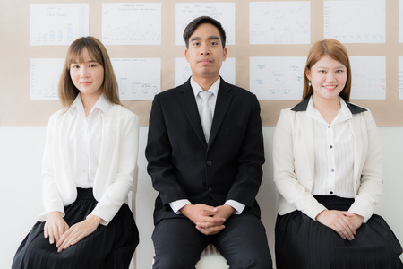 Stressful people waiting for job interview. Asian people