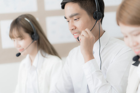Call center operators. Asian people