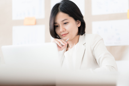 Portrait of businesswoman working in the office. Asian people Banque d'images
