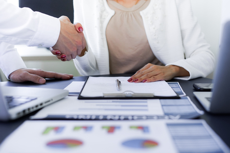 Business people shaking hands to seal a deal with his partner Stock Photo