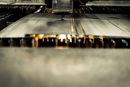 Laser cutting metalwork industry machine in factory Stock Photo