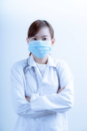 Doctor woman wearing protection face mask against coronavirus.Asian people