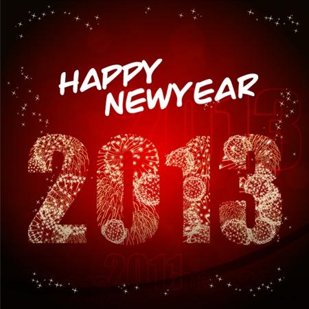 Fireworks Happy new year 2013 Illustration