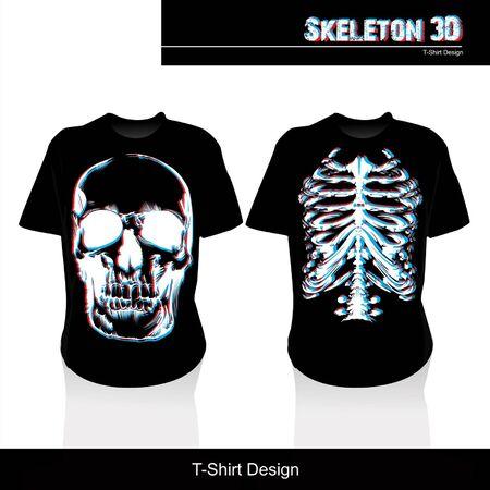 silk screen: Skeleton 3D T shirt