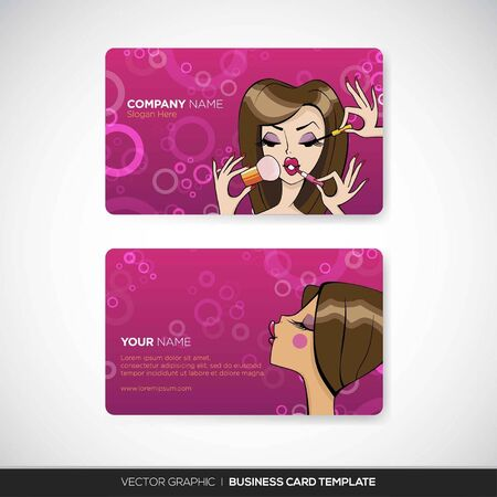 make up fashion: Business Card Template Illustration