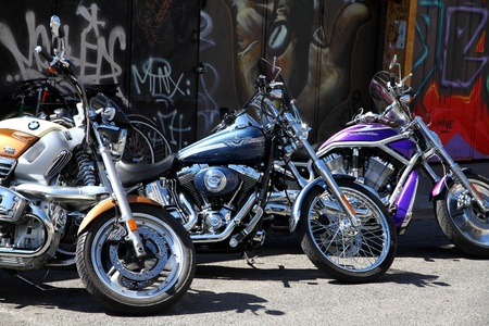 Three Harley-Davidson in a city street Stock Photo - 13266972