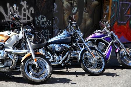 Three Harley-Davidson in a city street Stock Photo - 13266972