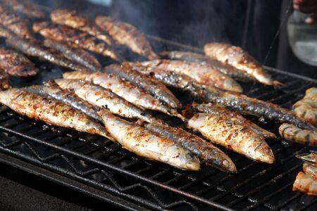 Fish on a BBQ grill