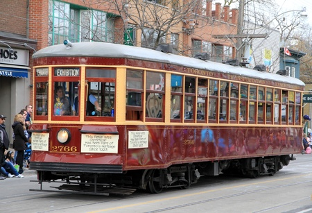 streetcar: An old Toronto streetcar during a street parade