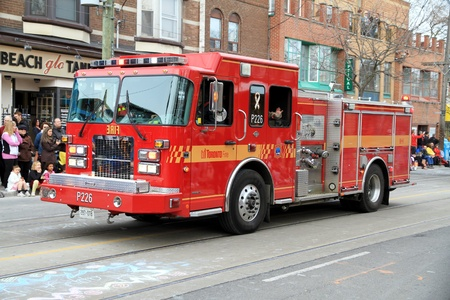 A Toronto fire fighting vehicle during a street parade