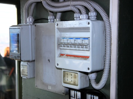 An electrical panel in Italy Stock Photo