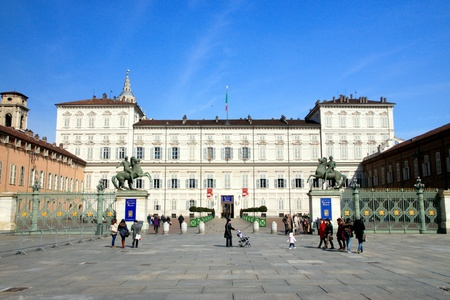 The exterior of the Palazzo Reale in Turin, Italy