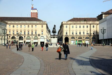 A view of San Carlo square in Turin, Italy Editorial