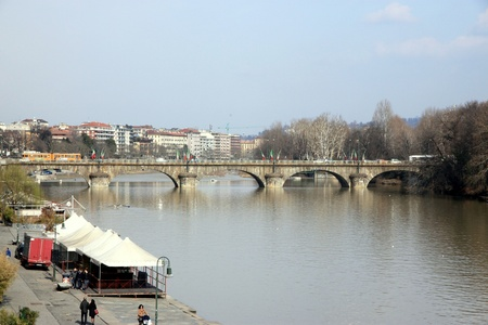 A view of the Po river in Turin, Italy Editorial
