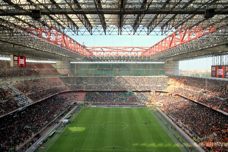 The San Siro stadium during an AC Milan football game Redakční