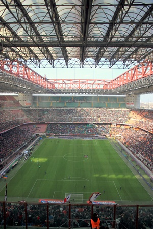 The San Siro stadium during an AC Milan football game Editorial
