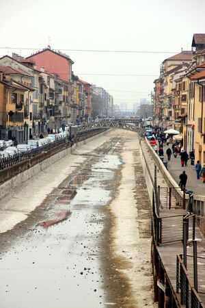 emptied: A view of the Naviglio Grande in Milan, Italy