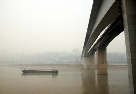 water town: A view from under the Bridge Shibanpo over the Yangtze. It was built from 1977 to 1980