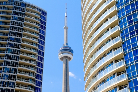 The CN Tower is a communications and observation tower in Downtown Toronto, Ontario, Canada  Stock Photo - 13795971